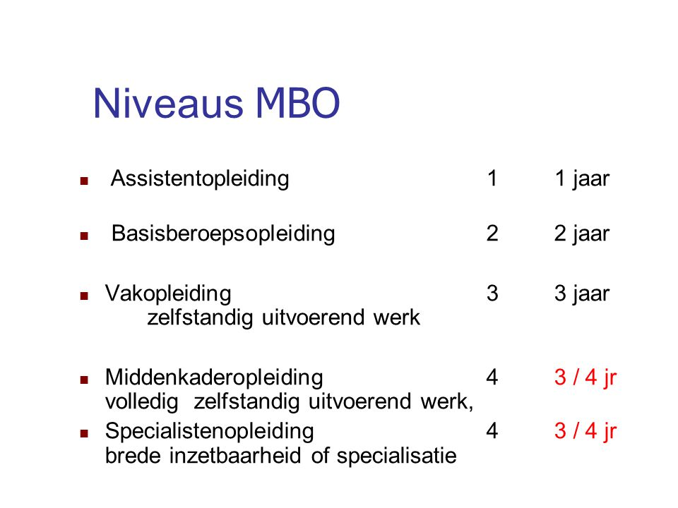Niveaus MBO Assistentopleiding 1 1 jaar Basisberoepsopleiding 2 2 jaar