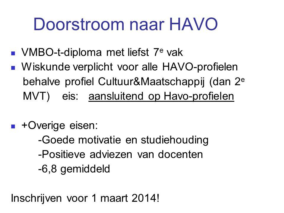 Doorstroom naar HAVO VMBO-t-diploma met liefst 7e vak