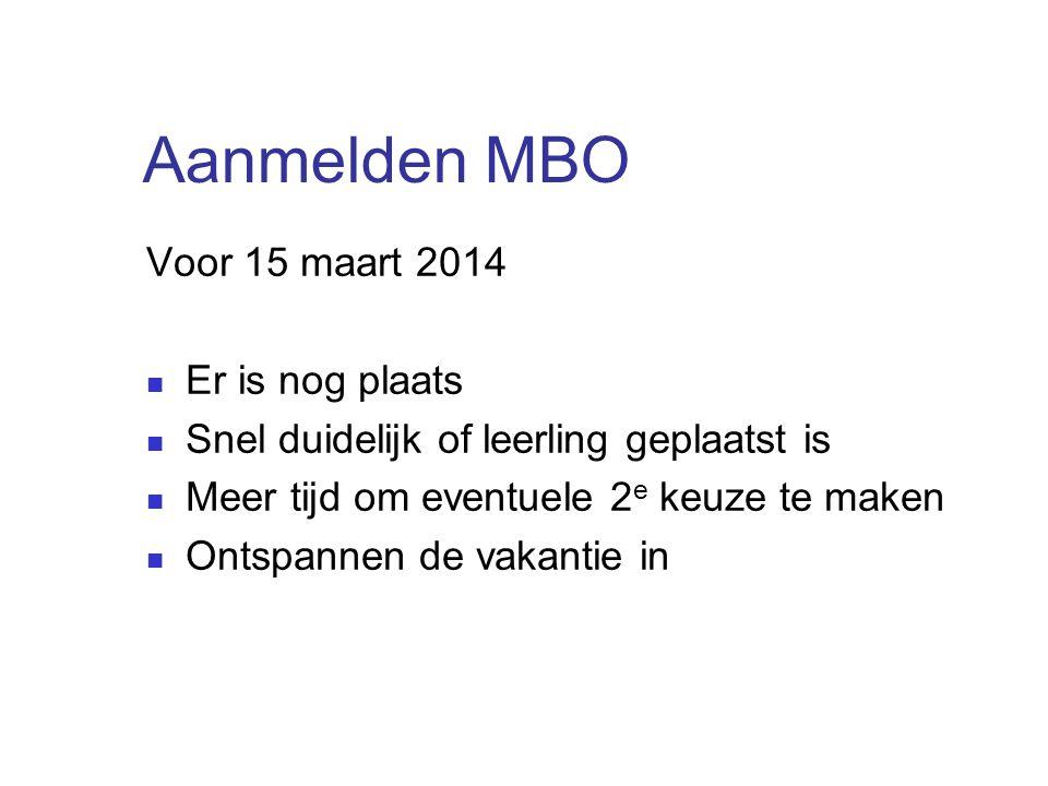 Aanmelden MBO Voor 15 maart 2014 Er is nog plaats