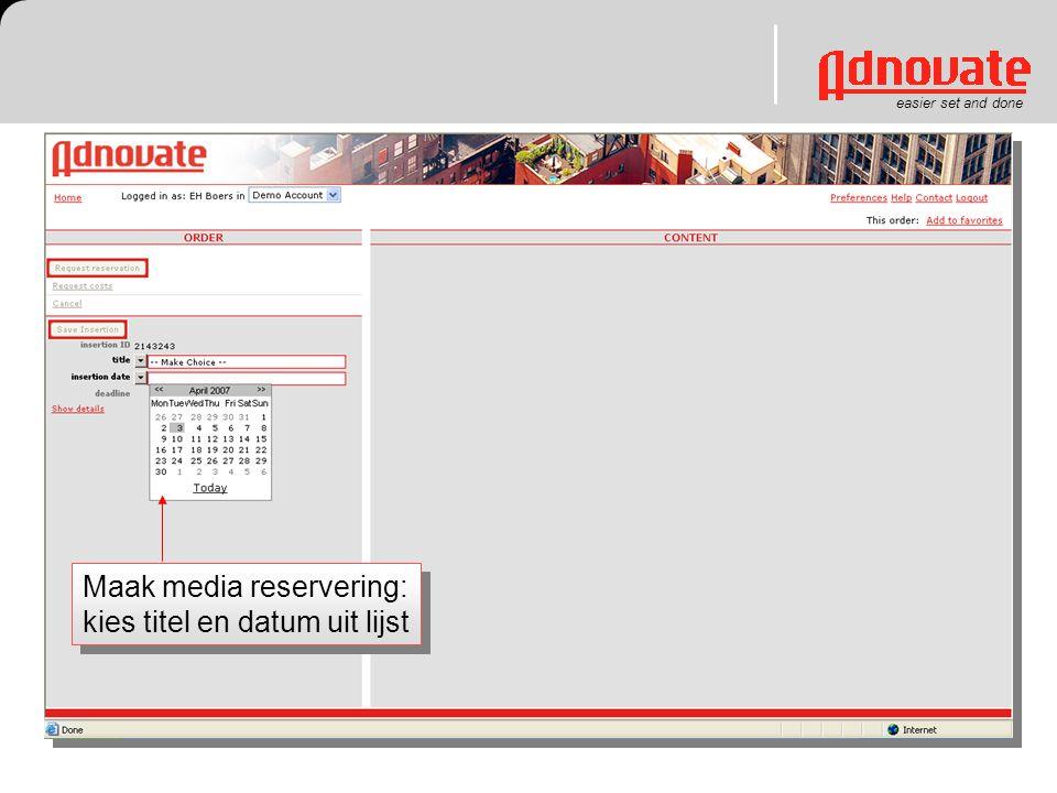 Maak media reservering: kies titel en datum uit lijst
