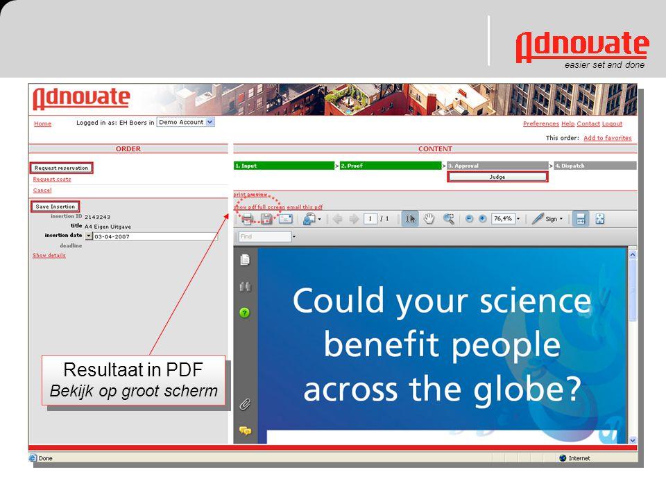 Resultaat in PDF Bekijk op groot scherm