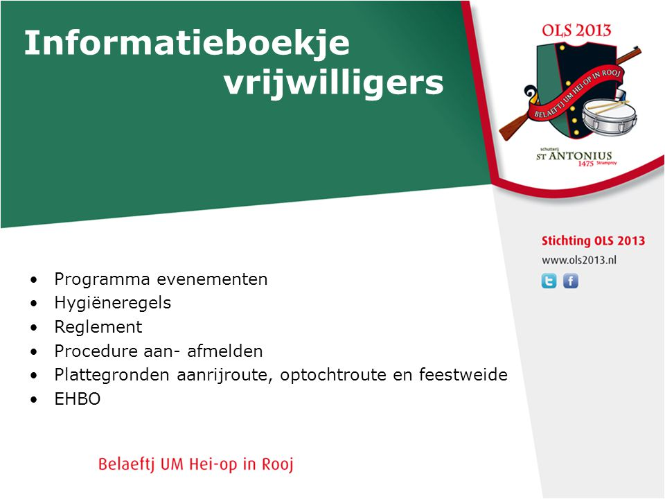 Informatieboekje vrijwilligers Programma evenementen Hygiëneregels