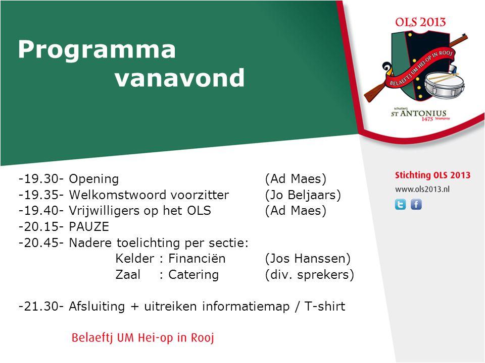 Programma vanavond -19.30- Opening (Ad Maes)
