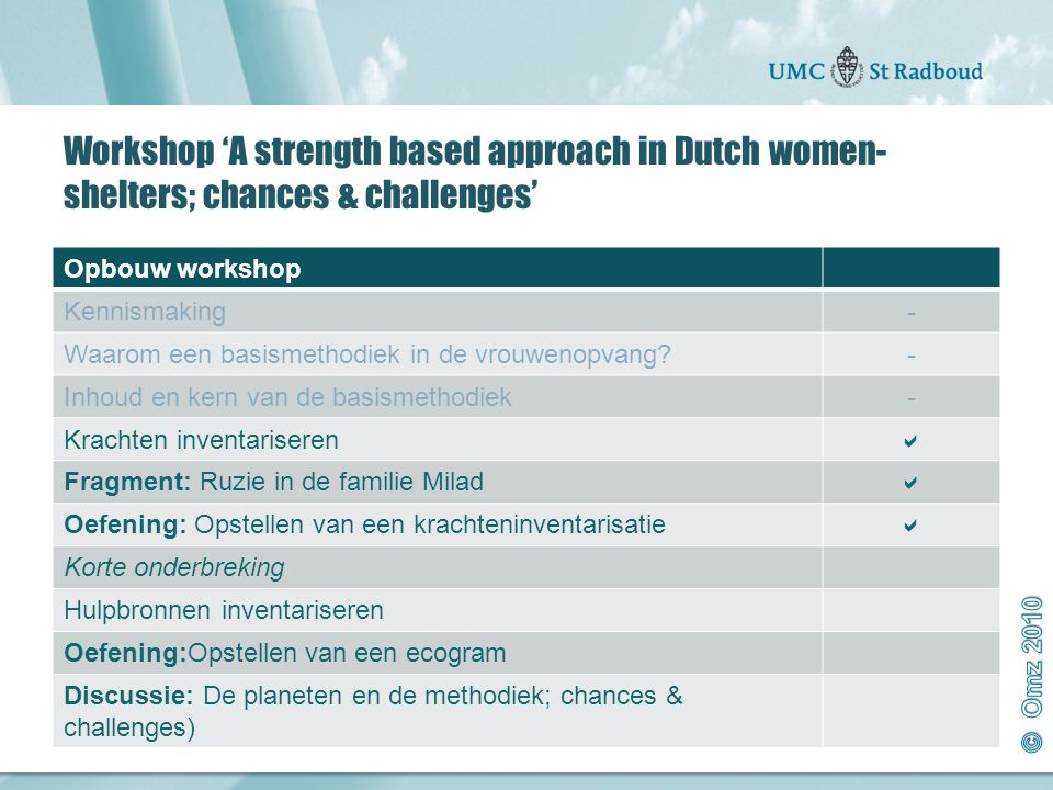 Workshop 'A strength based approach in Dutch women-shelters; chances & challenges'