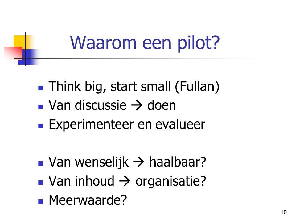 Waarom een pilot Think big, start small (Fullan) Van discussie  doen