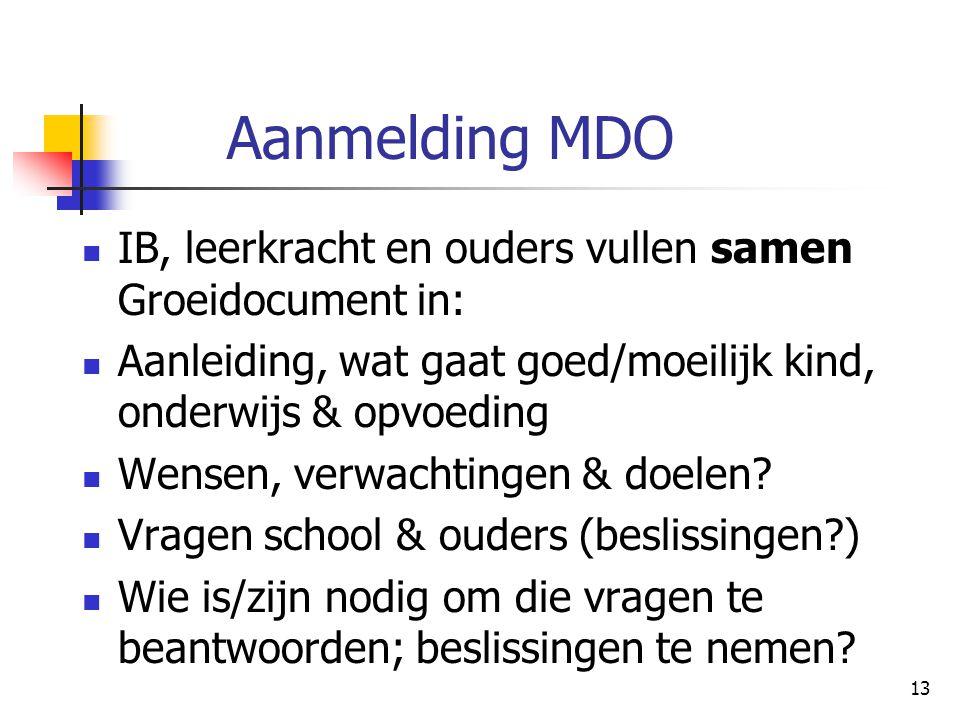 Aanmelding MDO IB, leerkracht en ouders vullen samen Groeidocument in: