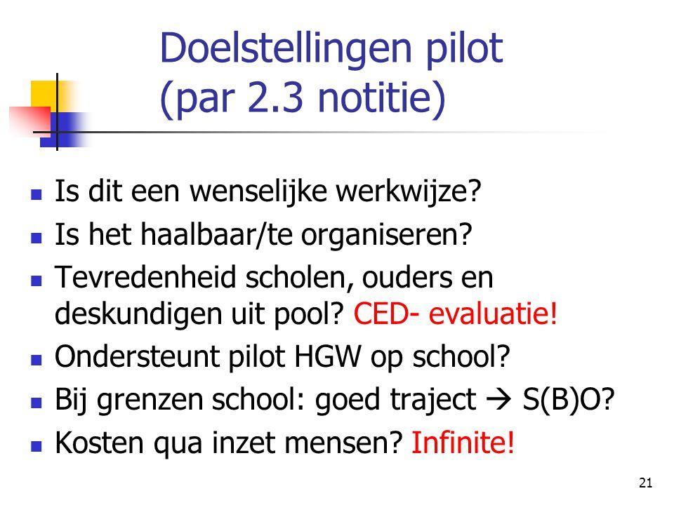 Doelstellingen pilot (par 2.3 notitie)