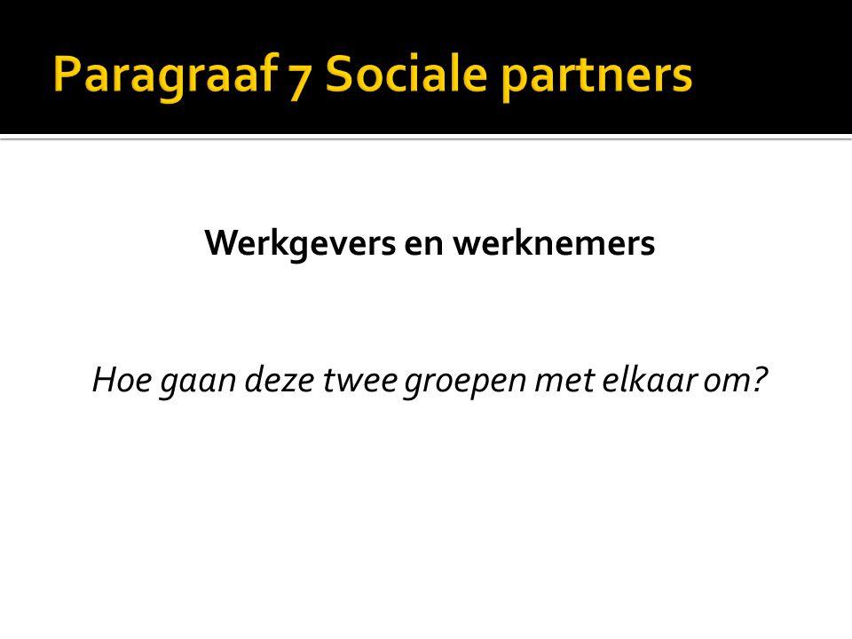 Paragraaf 7 Sociale partners