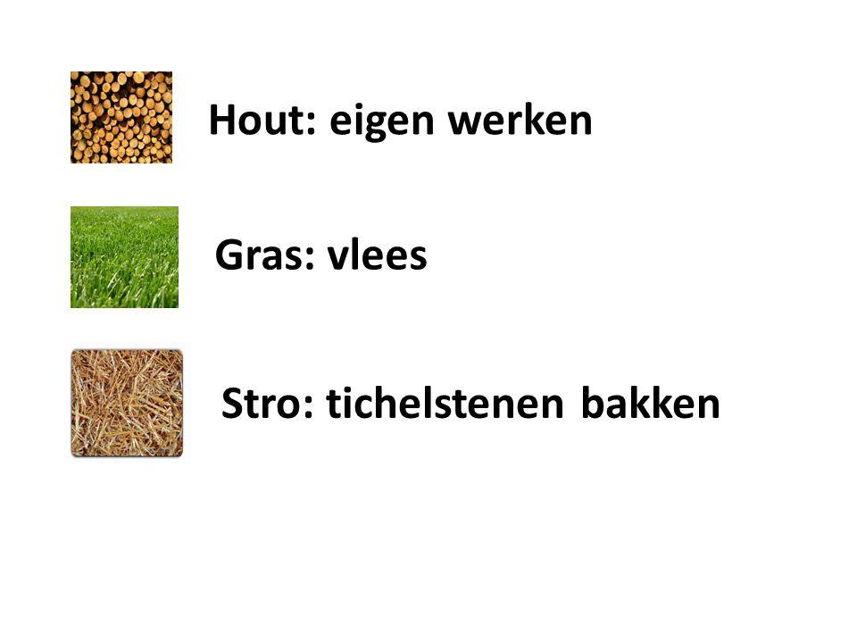 Hout: eigen werken Gras: vlees Stro: tichelstenen bakken