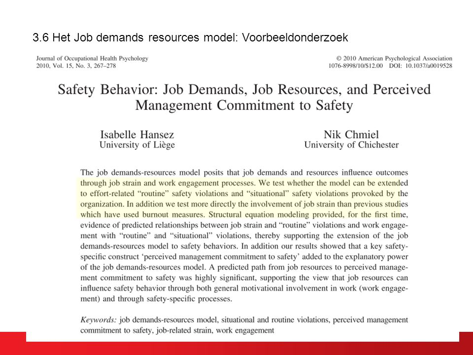 3.6 Het Job demands resources model: Voorbeeldonderzoek