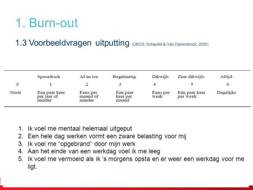 1. Burn-out 1.3 Voorbeeldvragen uitputting (UBOS; Schaufeli & Van Dierendonck, 2000) Ik voel me mentaal helemaal uitgeput.
