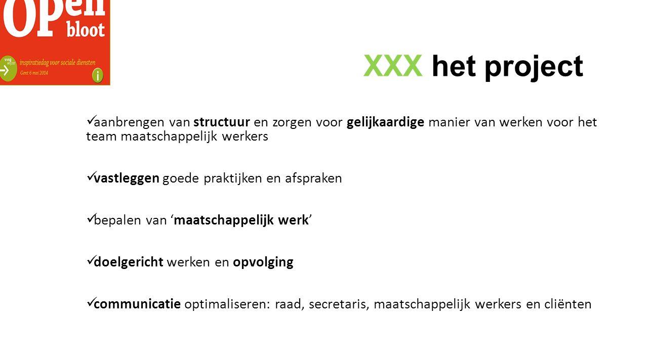 XXX het project aanbrengen van structuur en zorgen voor gelijkaardige manier van werken voor het team maatschappelijk werkers.