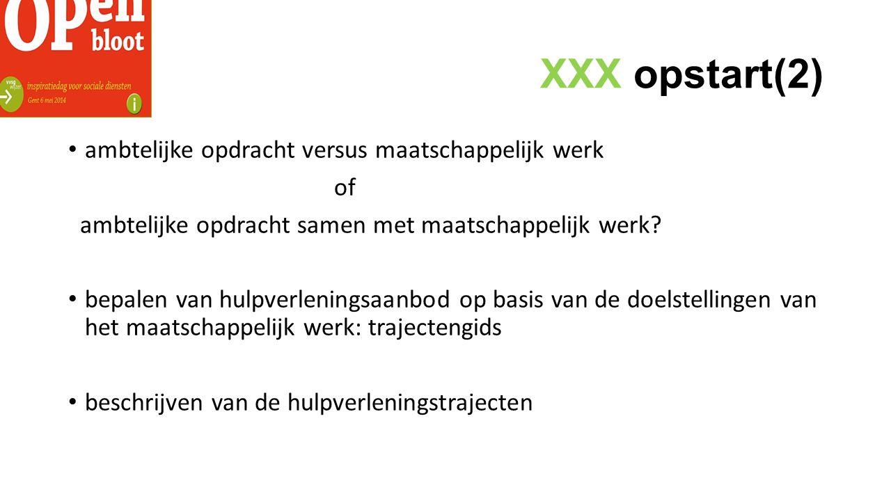 XXX opstart(2) ambtelijke opdracht versus maatschappelijk werk of