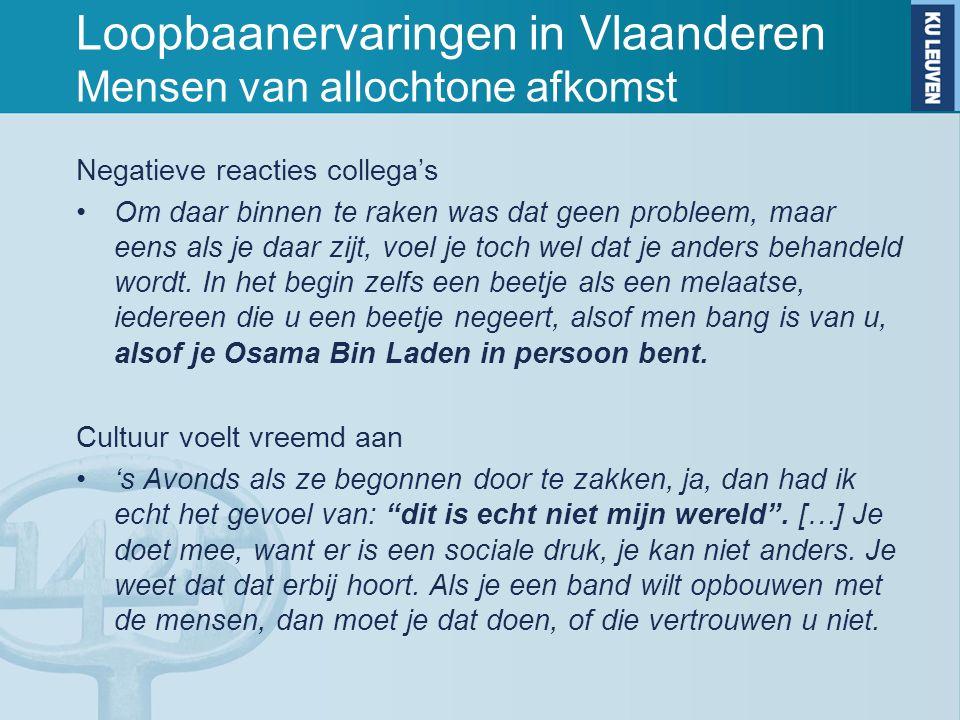 Loopbaanervaringen in Vlaanderen Mensen van allochtone afkomst
