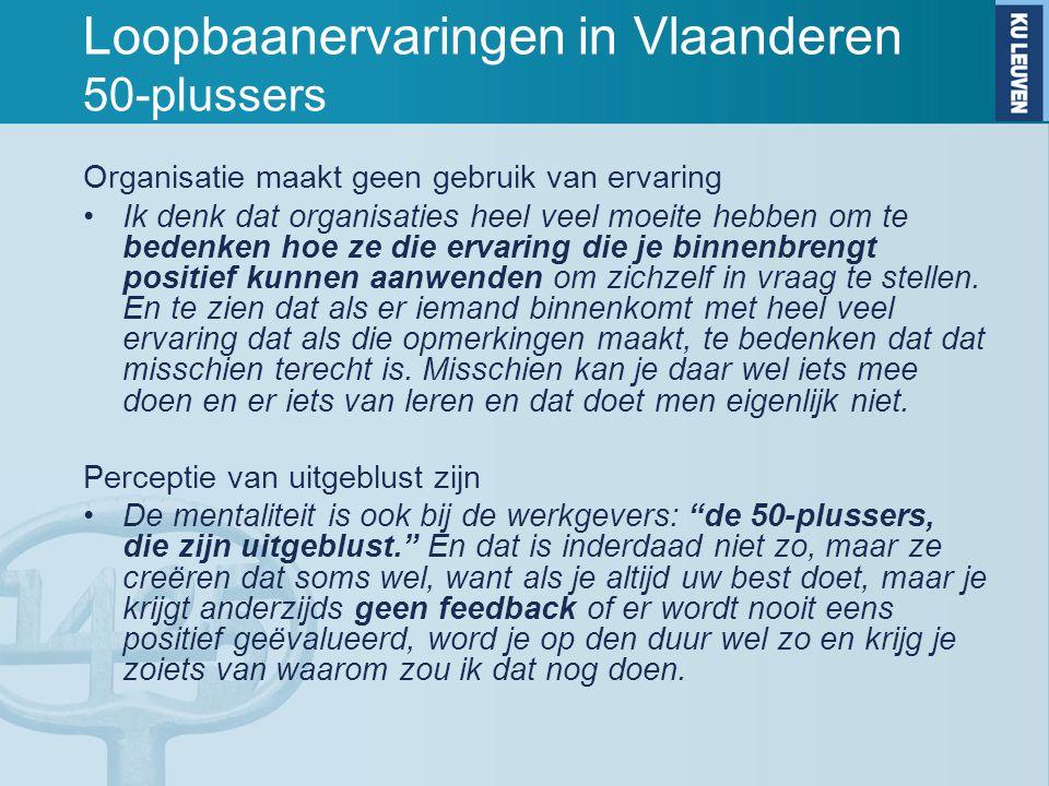 Loopbaanervaringen in Vlaanderen 50-plussers