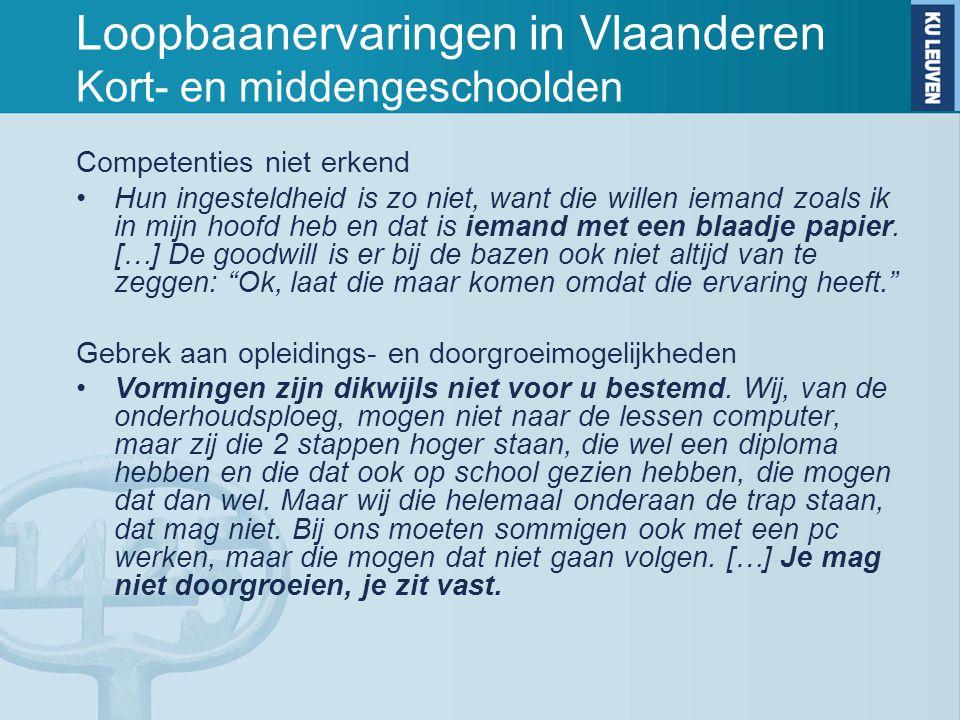 Loopbaanervaringen in Vlaanderen Kort- en middengeschoolden