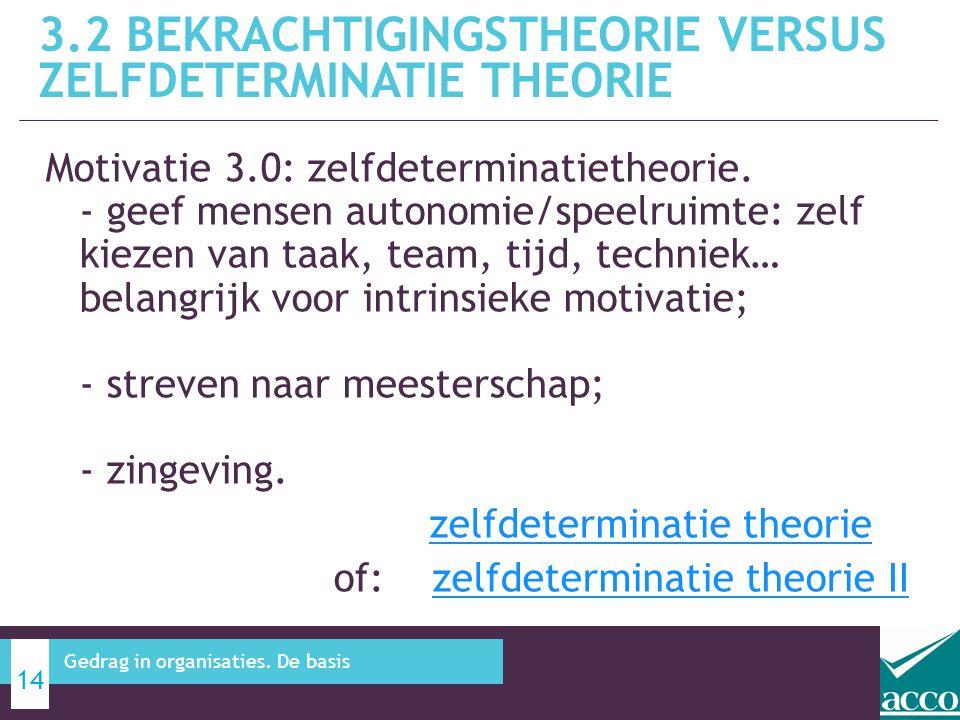 3.2 bekrachtigingstheorie versus zelfdeterminatie theorie