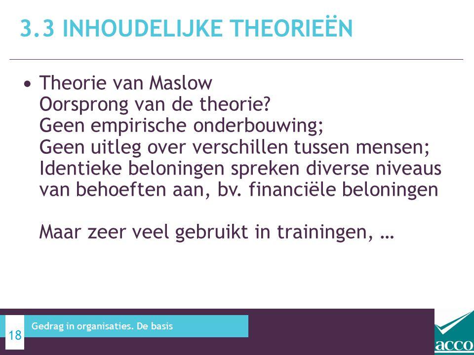 3.3 Inhoudelijke theorieën