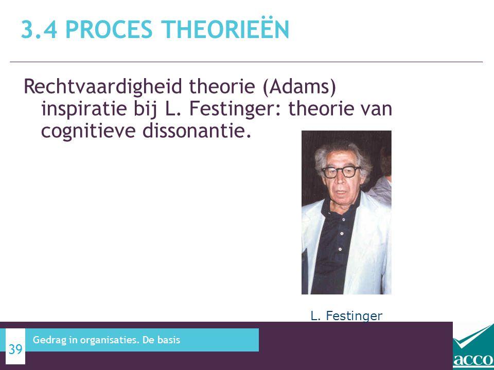 3.4 Proces theorieën Rechtvaardigheid theorie (Adams) inspiratie bij L. Festinger: theorie van cognitieve dissonantie.