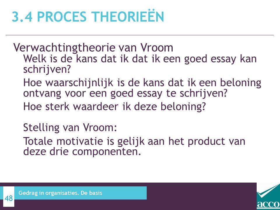 3.4 Proces theorieën Verwachtingtheorie van Vroom Welk is de kans dat ik dat ik een goed essay kan schrijven