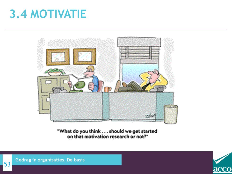 3.4 Motivatie Gedrag in organisaties. De basis