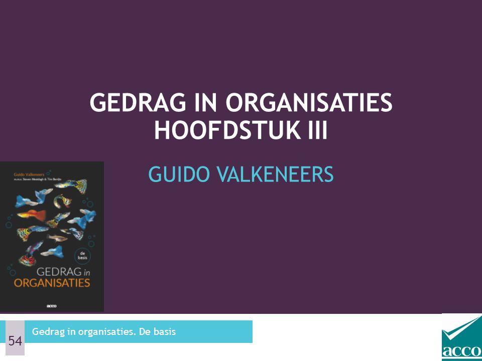 Gedrag in organisaties Hoofdstuk III