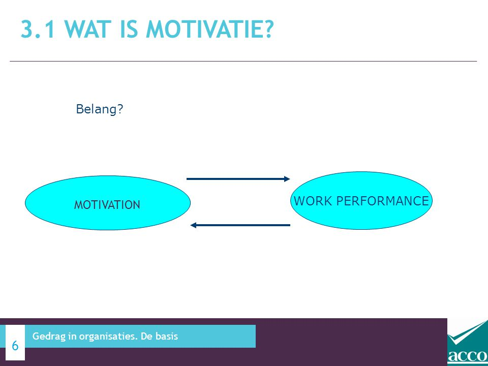 3.1 Wat is motivatie Belang WORK PERFORMANCE MOTIVATION