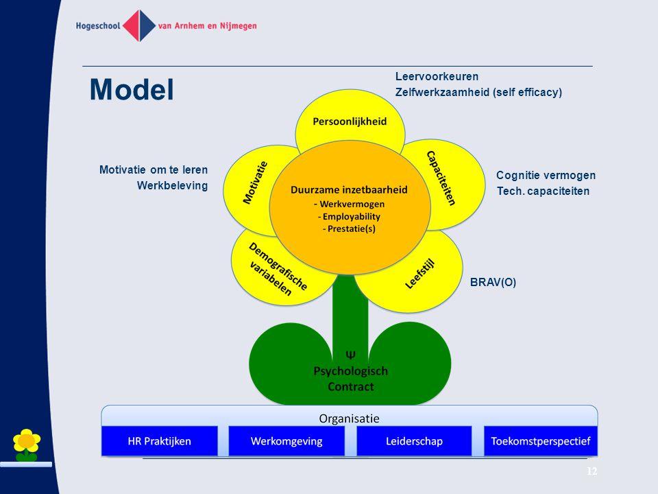 Model Leervoorkeuren Zelfwerkzaamheid (self efficacy)