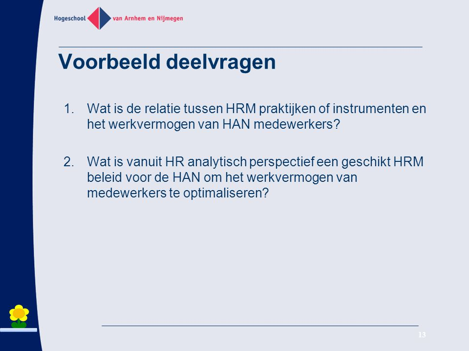 Voorbeeld deelvragen Wat is de relatie tussen HRM praktijken of instrumenten en het werkvermogen van HAN medewerkers
