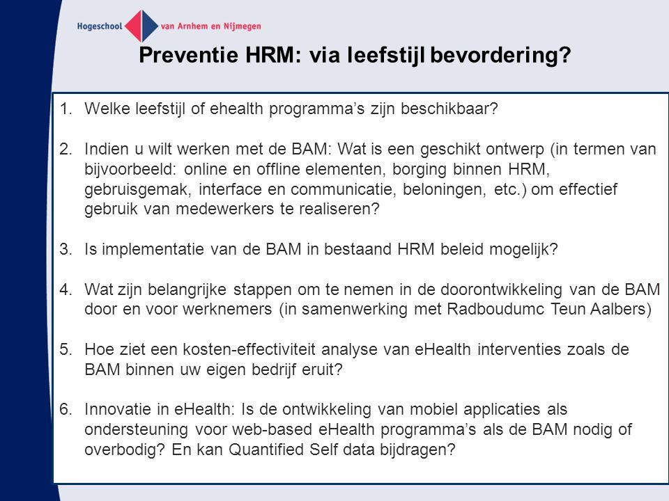Preventie HRM: via leefstijl bevordering