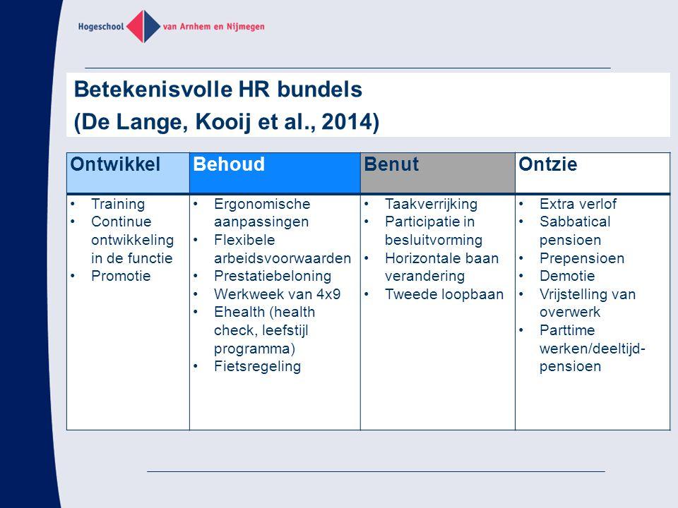 Betekenisvolle HR bundels (De Lange, Kooij et al., 2014)