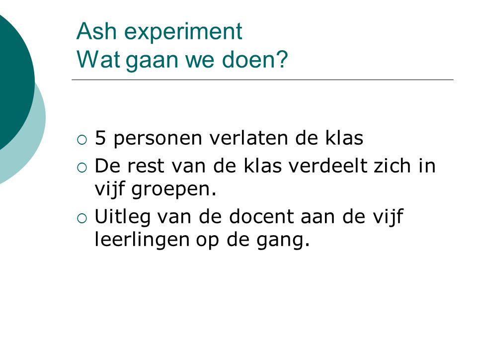 Ash experiment Wat gaan we doen