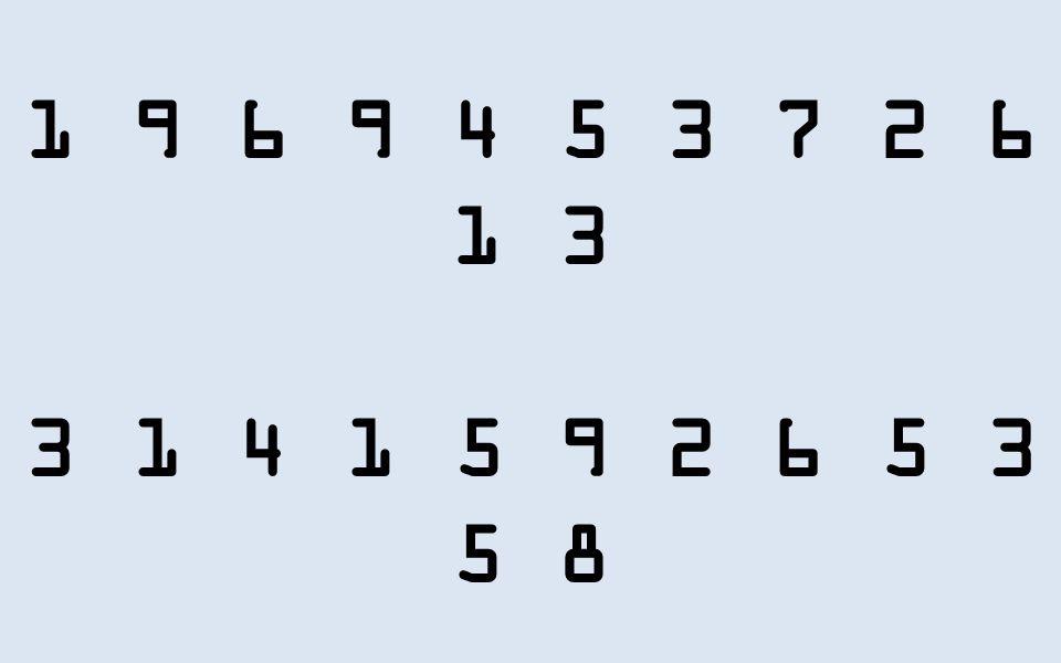 1 9 6 9 4 5 3 7 2 6 1 3 3 1 4 1 5 9 2 6 5 3 5 8 4 8 15 16 23 42