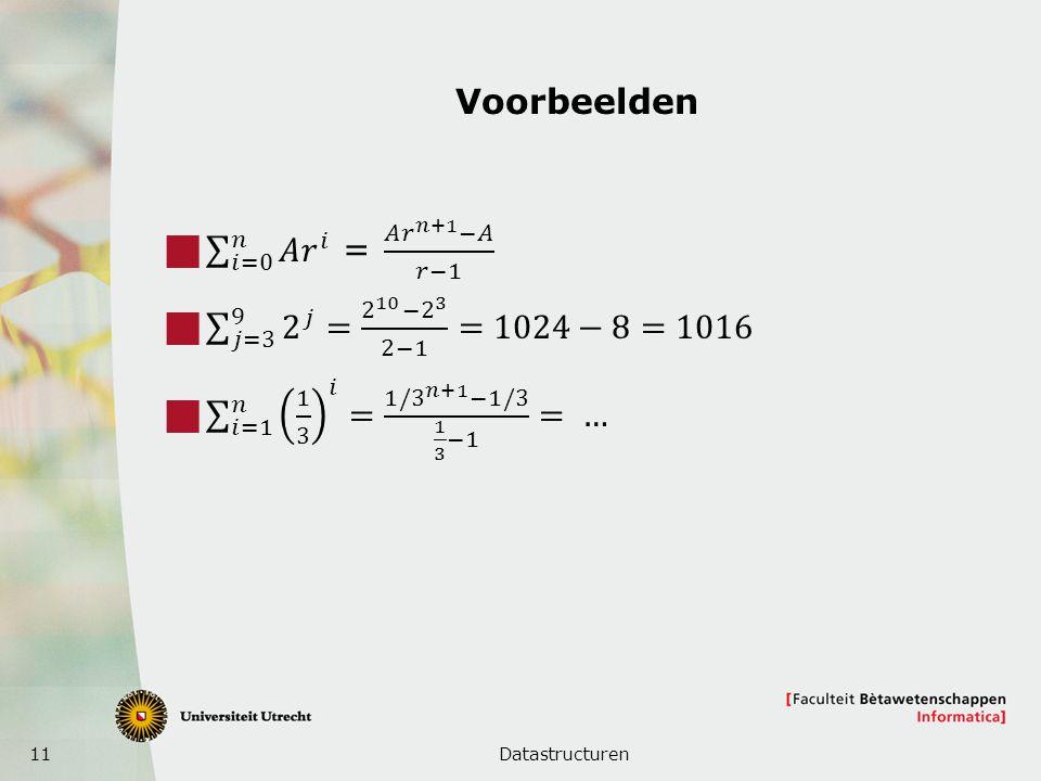Voorbeelden 𝑖=0 𝑛 𝐴 𝑟 𝑖 = 𝐴 𝑟 𝑛+1 −𝐴 𝑟−1