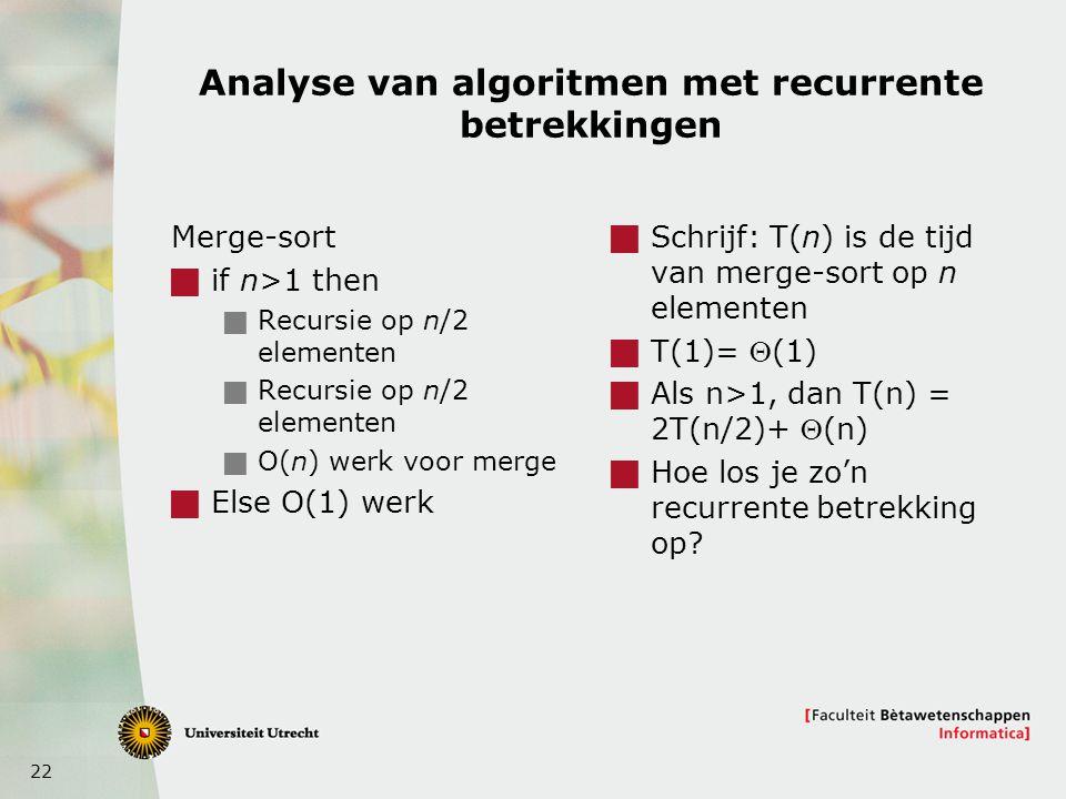 Analyse van algoritmen met recurrente betrekkingen