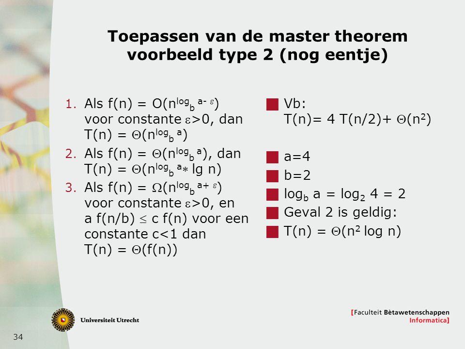 Toepassen van de master theorem voorbeeld type 2 (nog eentje)