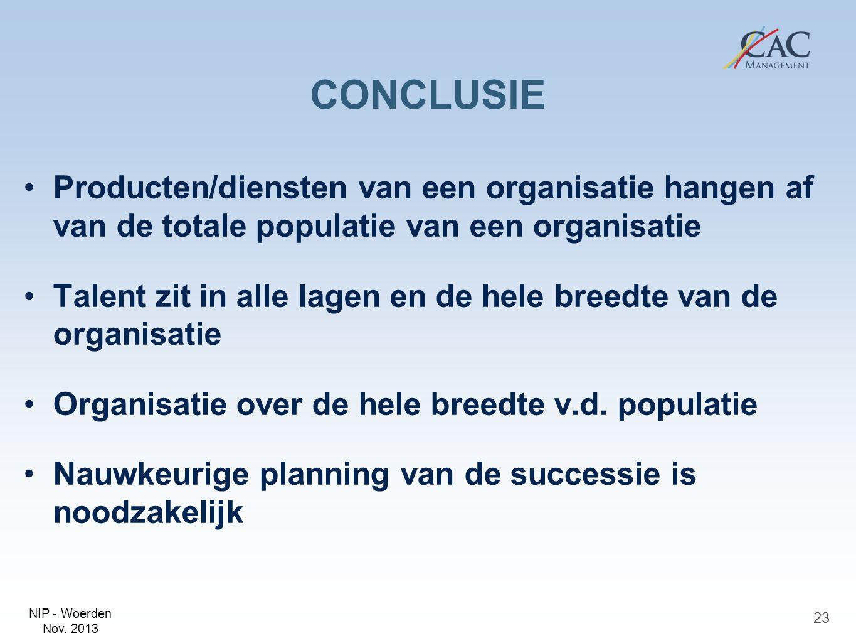 CONCLUSIE Producten/diensten van een organisatie hangen af van de totale populatie van een organisatie.