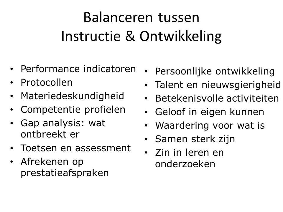 Balanceren tussen Instructie & Ontwikkeling