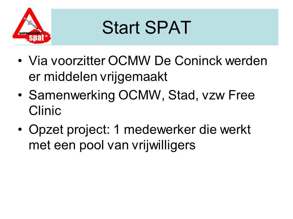 Start SPAT Via voorzitter OCMW De Coninck werden er middelen vrijgemaakt. Samenwerking OCMW, Stad, vzw Free Clinic.