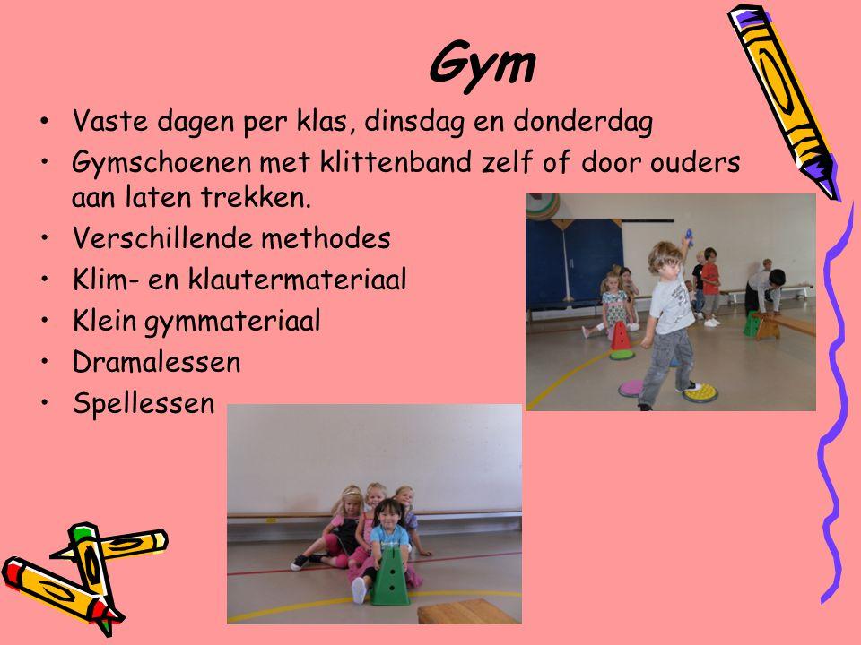 Gym Vaste dagen per klas, dinsdag en donderdag
