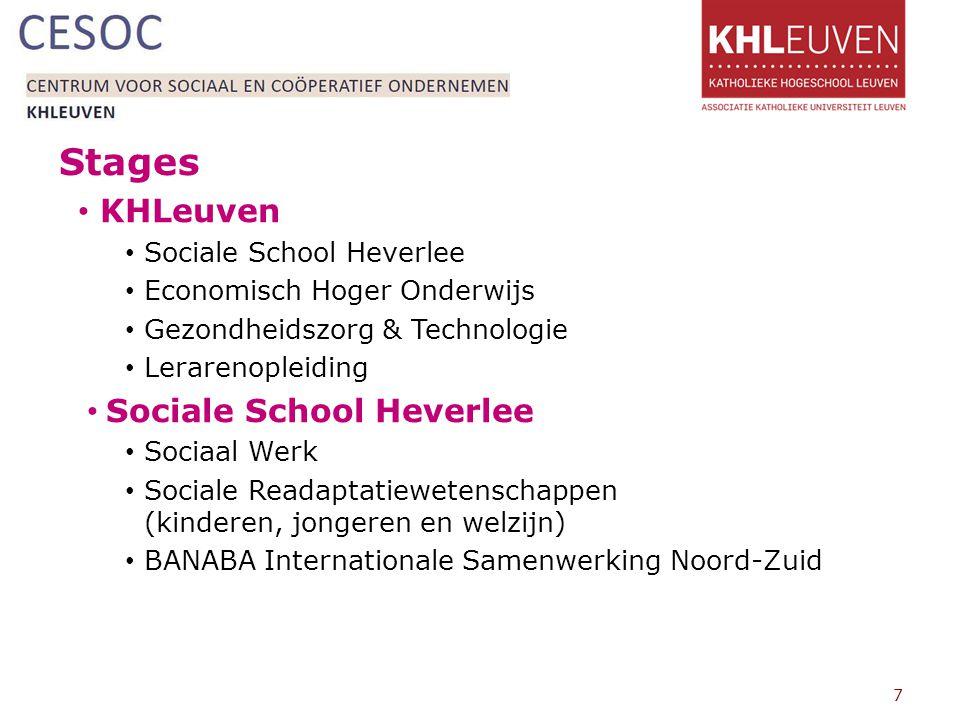 Stages KHLeuven Sociale School Heverlee Economisch Hoger Onderwijs