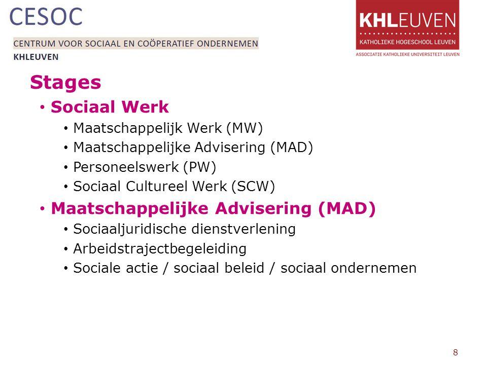 Stages Sociaal Werk Maatschappelijk Werk (MW)