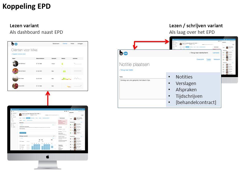 Koppeling EPD Lezen variant Als dashboard naast EPD