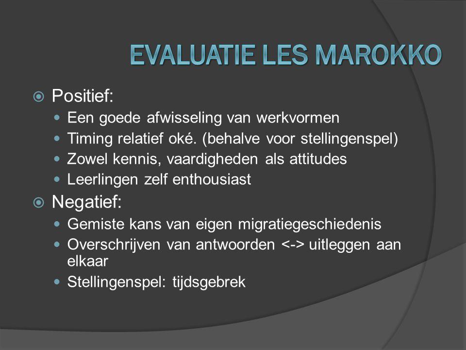 EVALUATIE LES MAROKKO Positief: Negatief: