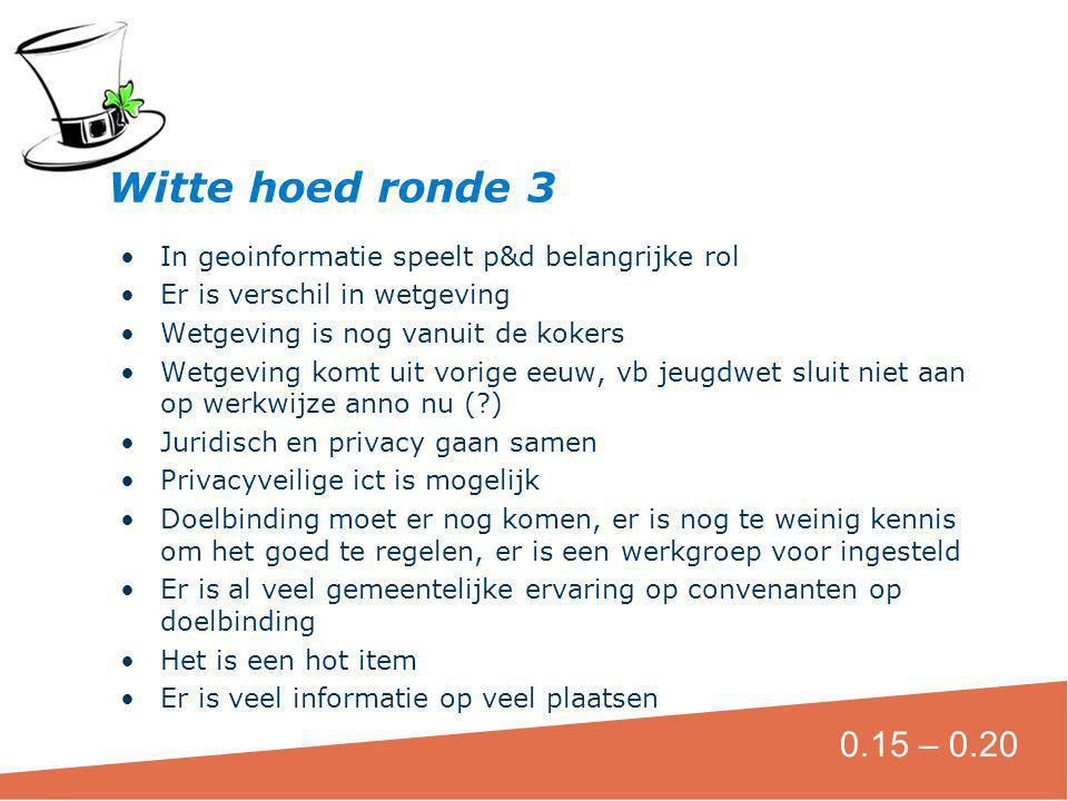 Witte hoed ronde 3 In geoinformatie speelt p&d belangrijke rol. Er is verschil in wetgeving. Wetgeving is nog vanuit de kokers.