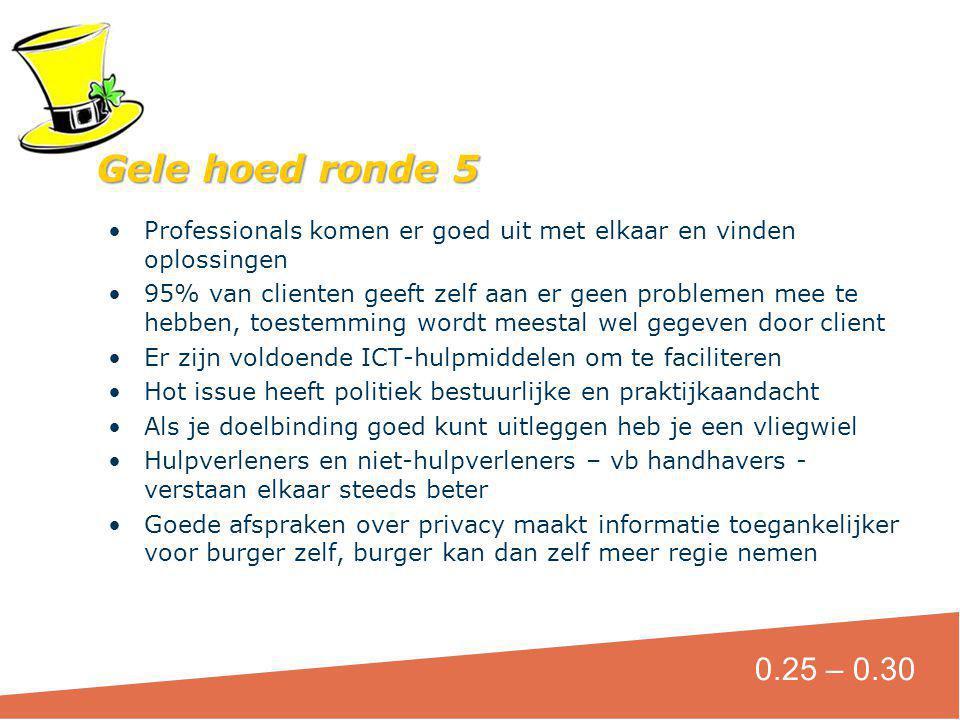 Gele hoed ronde 5 Professionals komen er goed uit met elkaar en vinden oplossingen.