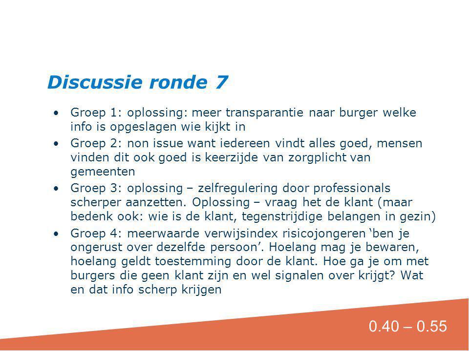 Discussie ronde 7 Groep 1: oplossing: meer transparantie naar burger welke info is opgeslagen wie kijkt in.