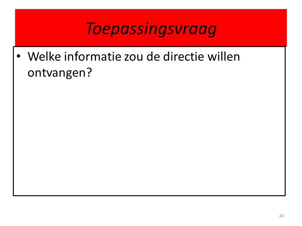 Toepassingsvraag Welke informatie zou de directie willen ontvangen