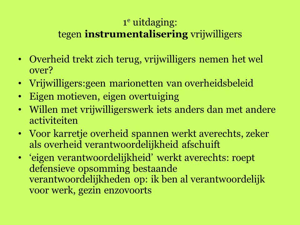 1e uitdaging: tegen instrumentalisering vrijwilligers