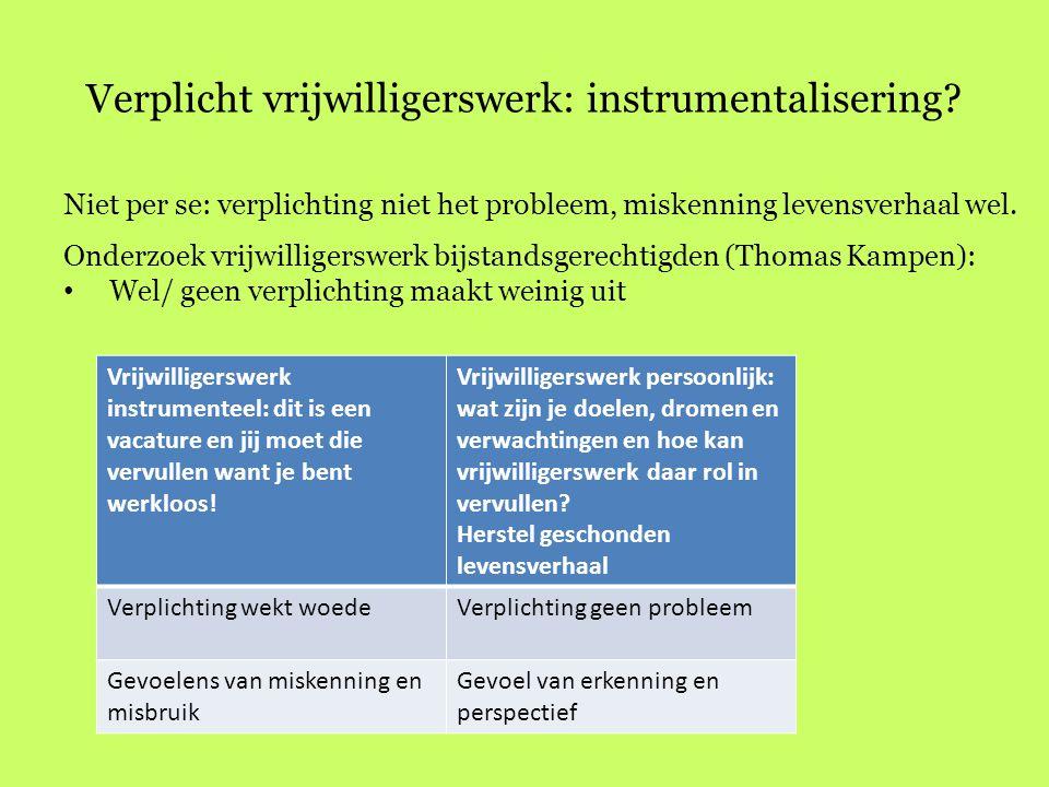 Verplicht vrijwilligerswerk: instrumentalisering